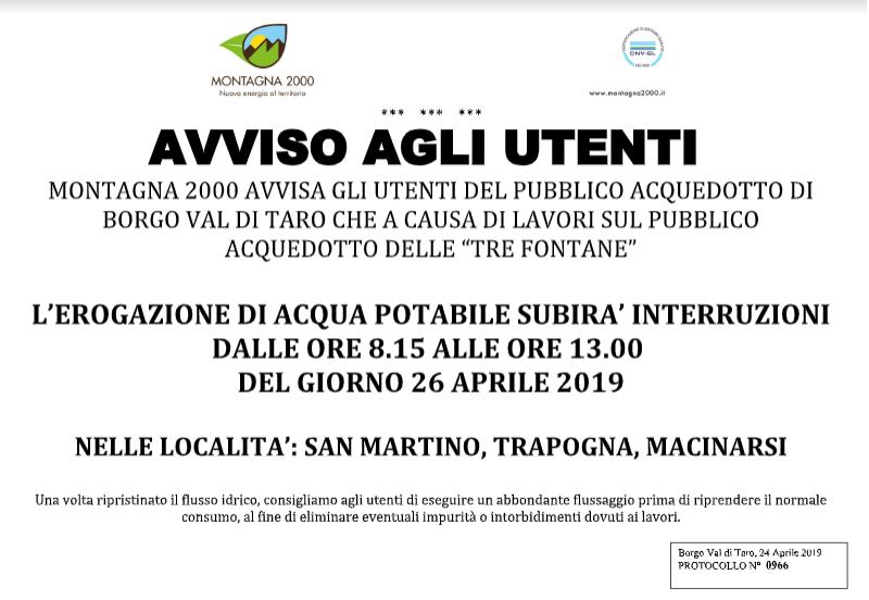 Interruzione di fornitura 26.04.2019