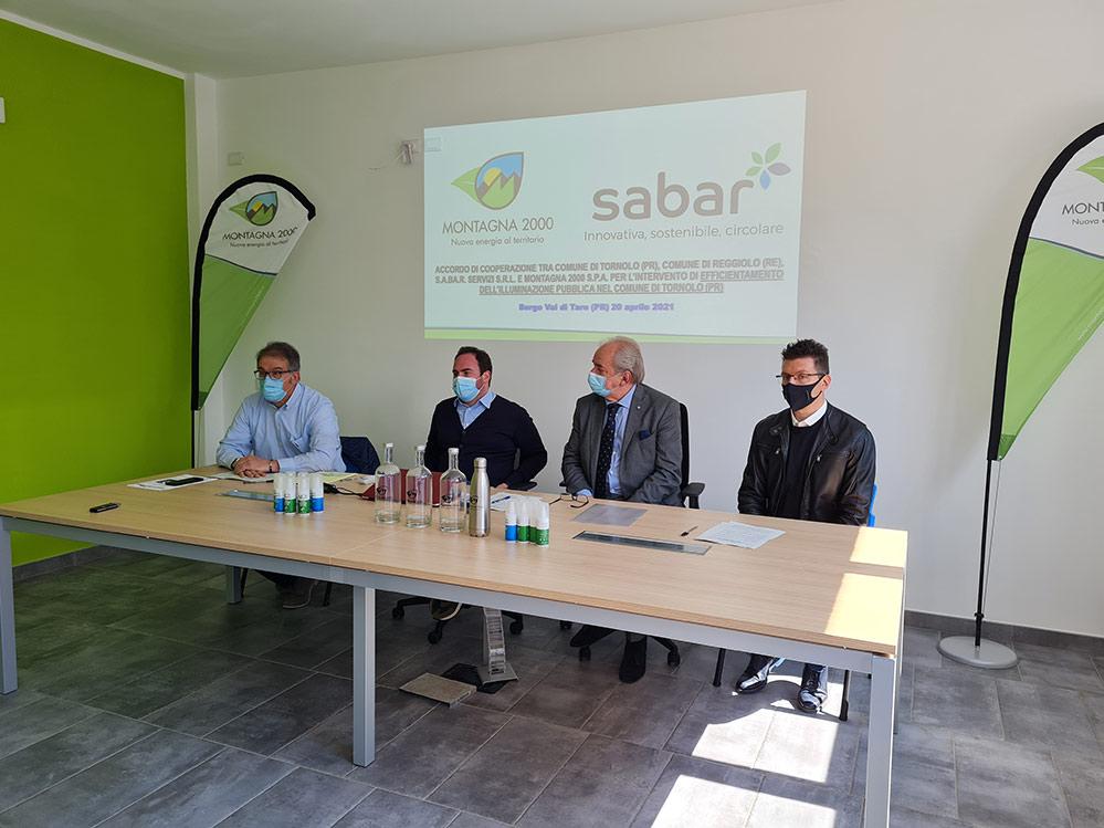 Accordo di cooperazione tra Montagna 2000 S.p.A., Sabar Servizi S.r.l. ed i Comuni di Tornolo (PR) e Reggiolo (RE) per il progetto di revamping della pubblica illuminazione a Tornolo